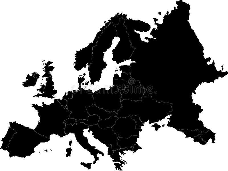 Διανυσματικός χάρτης της Ευρώπης διανυσματική απεικόνιση