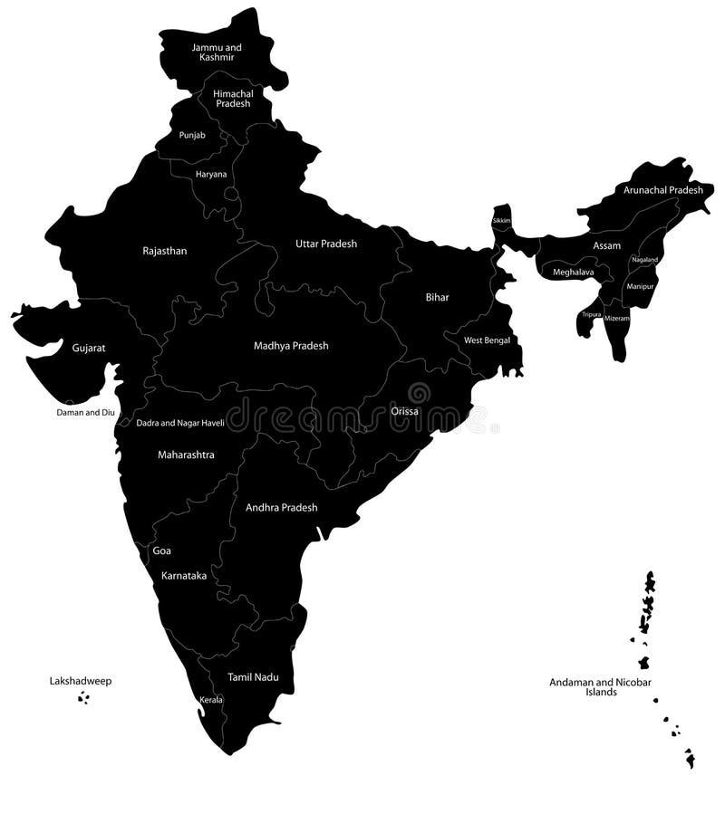 Διανυσματικός χάρτης της Ινδίας διανυσματική απεικόνιση
