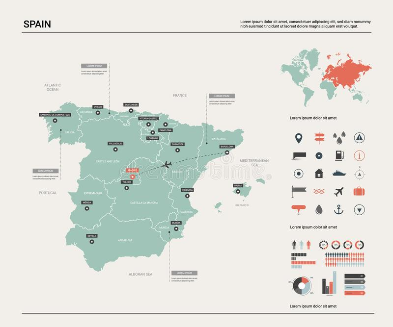 Διανυσματικός χάρτης της Ισπανίας Υψηλός λεπτομερής χάρτης χωρών με το τμήμα, τις πόλεις και την κύρια Μαδρίτη Πολιτικός χάρτης,  διανυσματική απεικόνιση