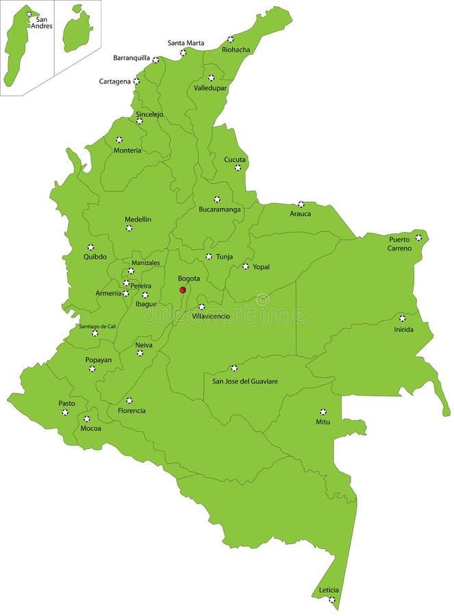 Διανυσματικός χάρτης της Κολομβίας διανυσματική απεικόνιση