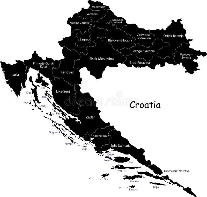 Διανυσματικός χάρτης της Κροατίας διανυσματική απεικόνιση