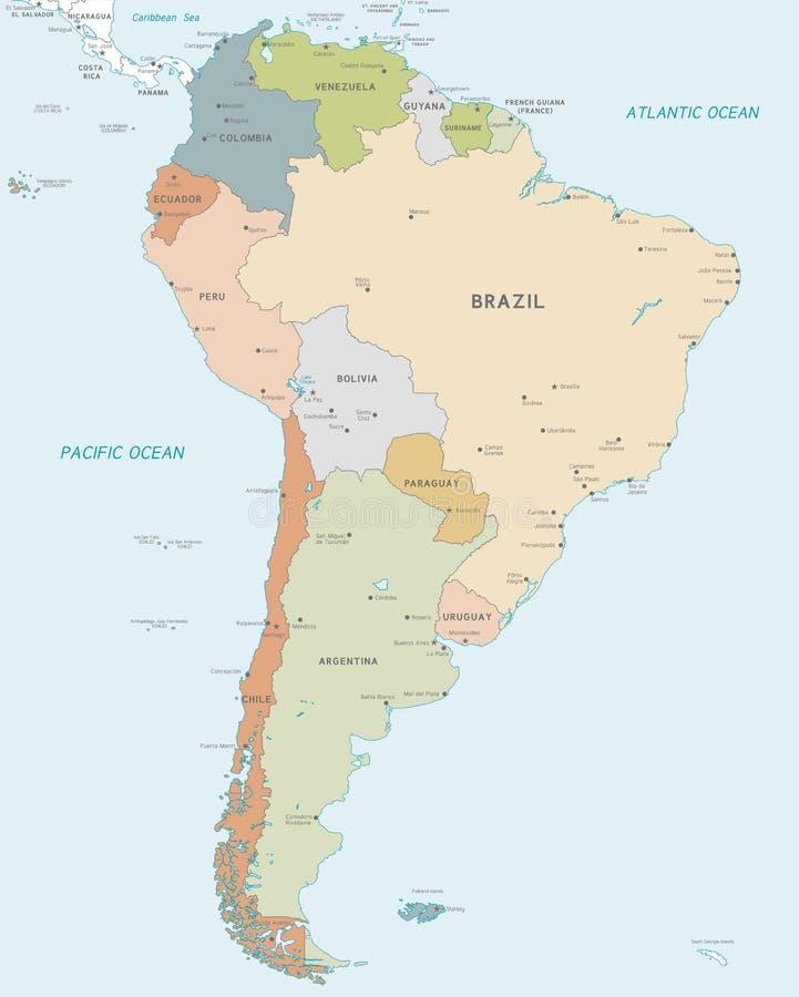 Διανυσματικός χάρτης της Νότιας Αμερικής διανυσματική απεικόνιση