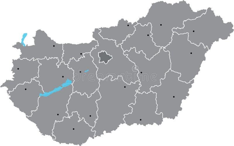 Διανυσματικός χάρτης της Ουγγαρίας διανυσματική απεικόνιση