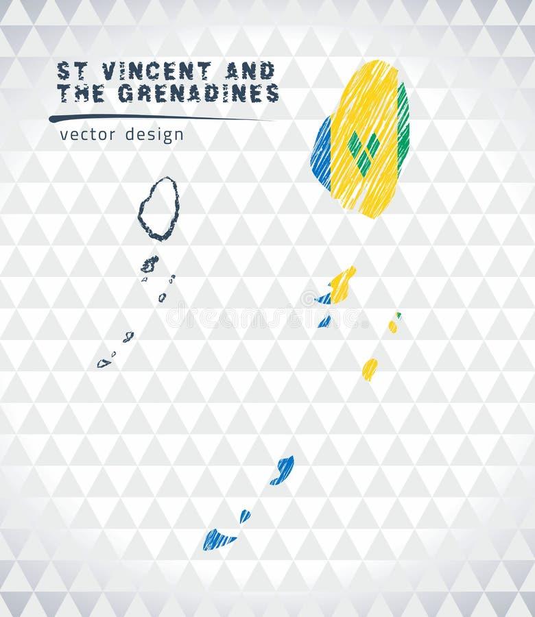 Διανυσματικός χάρτης του Άγιου Βικεντίου και Γρεναδίνες με το εσωτερικό σημαιών που απομονώνεται σε ένα άσπρο υπόβαθρο Συρμένη χέ απεικόνιση αποθεμάτων