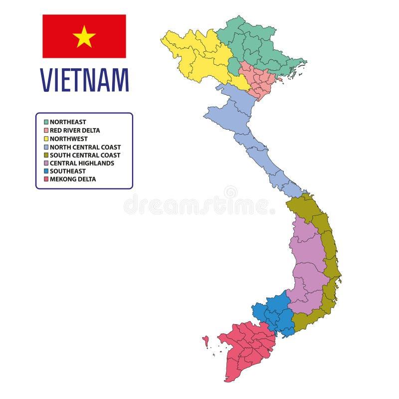 Διανυσματικός χάρτης του Βιετνάμ με τις περιοχές ελεύθερη απεικόνιση δικαιώματος