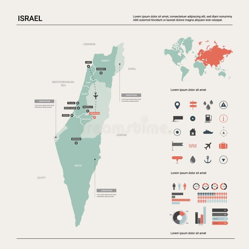 Διανυσματικός χάρτης του Ισραήλ Υψηλός λεπτομερής χάρτης χωρών με το τμήμα, τις πόλεις και την κύρια Ιερουσαλήμ Πολιτικός χάρτης, απεικόνιση αποθεμάτων