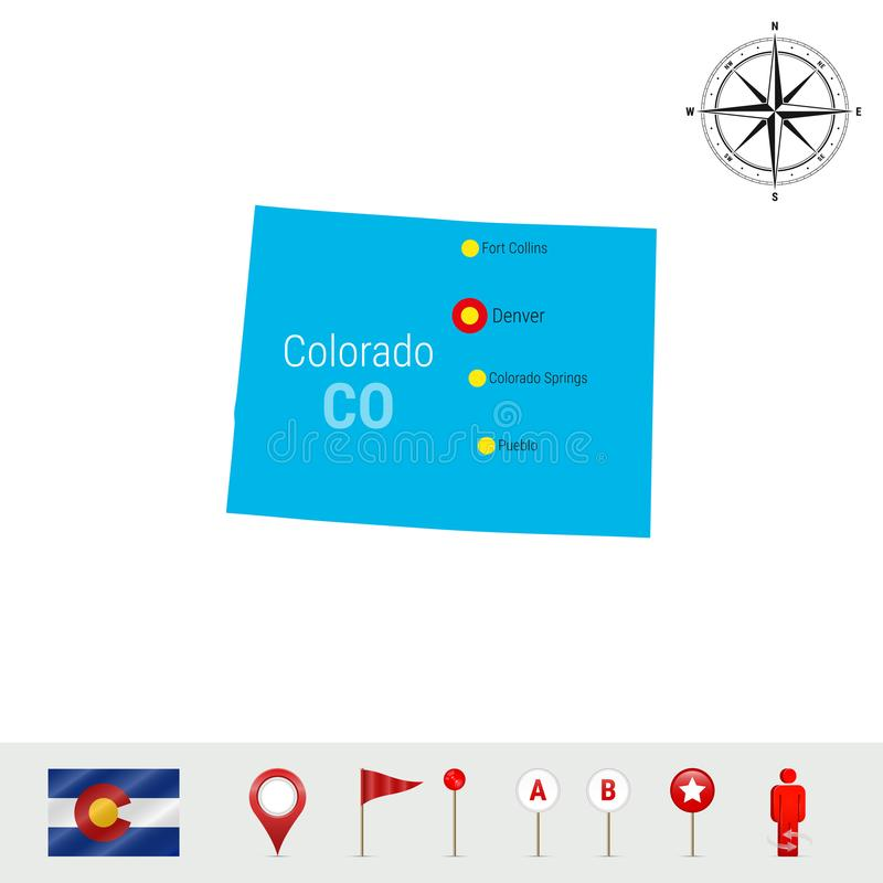 Διανυσματικός χάρτης του Κολοράντο που απομονώνεται στο άσπρο υπόβαθρο Σκιαγραφία του κράτους του Κολοράντο Επίσημη σημαία του Κο ελεύθερη απεικόνιση δικαιώματος
