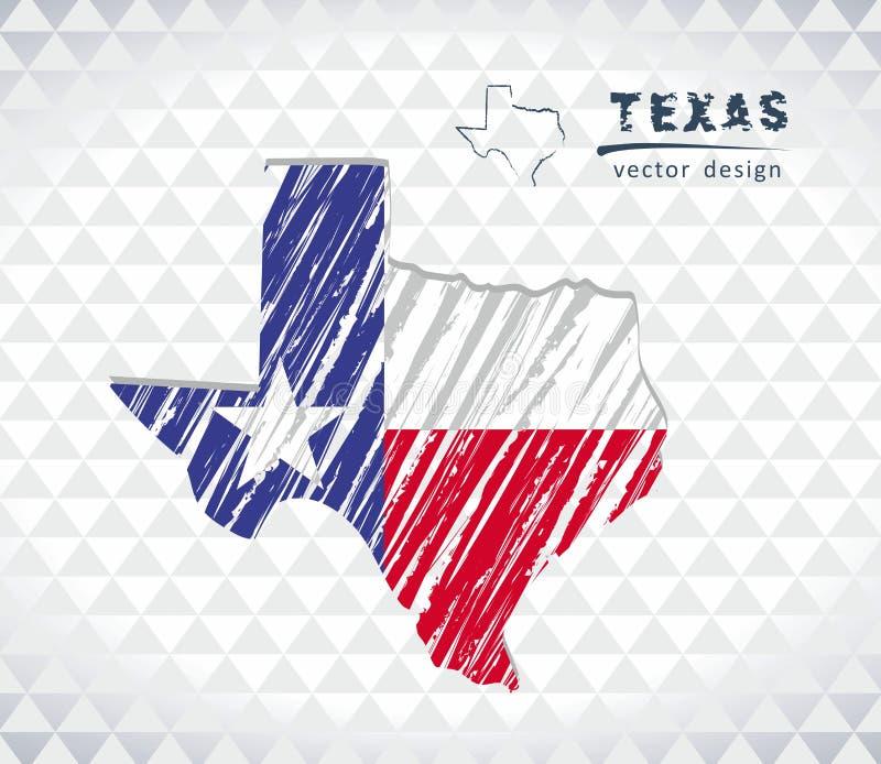 Διανυσματικός χάρτης του Τέξας με το εσωτερικό σημαιών που απομονώνεται σε ένα άσπρο υπόβαθρο Συρμένη χέρι απεικόνιση κιμωλίας σκ ελεύθερη απεικόνιση δικαιώματος