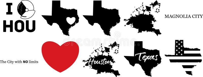Διανυσματικός χάρτης του Χιούστον Τέξας με τη αμερικανική σημαία διανυσματική απεικόνιση