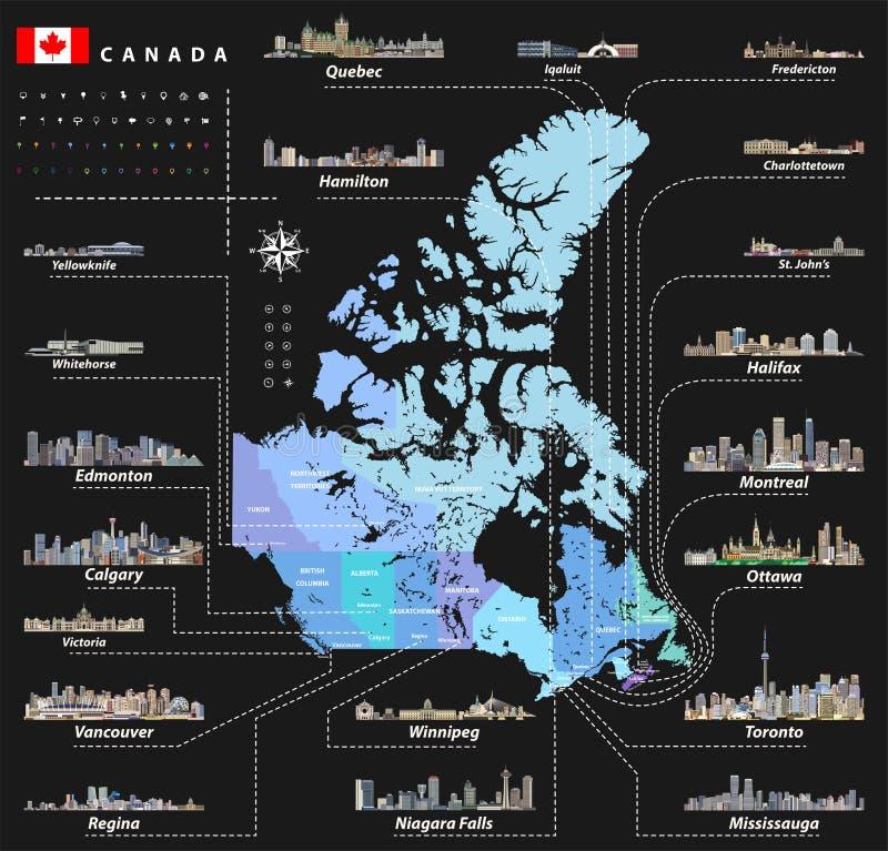 Διανυσματικός χάρτης των επαρχιών και εδάφη του Καναδά με τις μεγαλύτερες πόλεις και όλους τους ορίζοντες κρατικών κεφαλαίων διανυσματική απεικόνιση