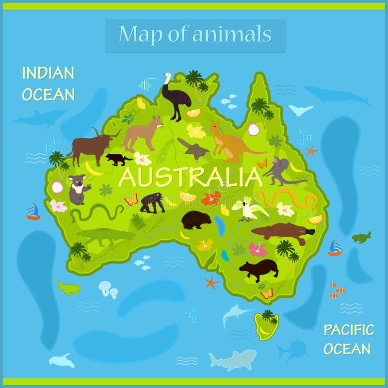 Διανυσματικός χάρτης των ζώων στην Αυστραλία ελεύθερη απεικόνιση δικαιώματος