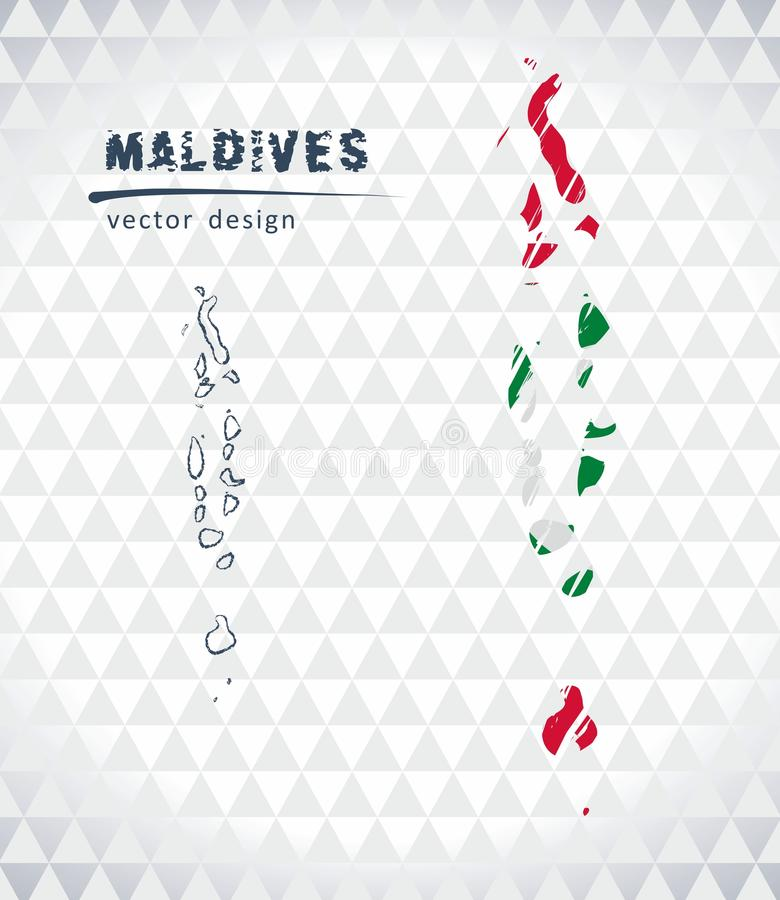 Διανυσματικός χάρτης των Μαλδίβες με το εσωτερικό σημαιών που απομονώνεται σε ένα άσπρο υπόβαθρο Συρμένη χέρι απεικόνιση κιμωλίας απεικόνιση αποθεμάτων