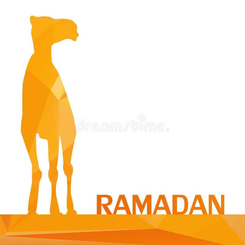 Διανυσματικός χαιρετισμός Ramadan με την καμήλα, ισλαμική ευχετήρια κάρτα για το RA ελεύθερη απεικόνιση δικαιώματος