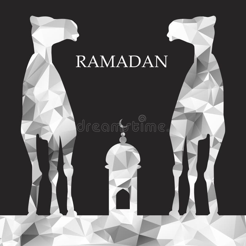 Διανυσματικός χαιρετισμός Ramadan με την καμήλα, ισλαμική ευχετήρια κάρτα για το RA διανυσματική απεικόνιση