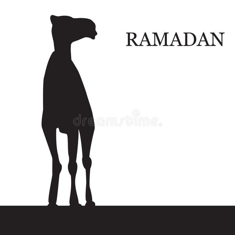 Διανυσματικός χαιρετισμός Ramadan με την καμήλα απεικόνιση αποθεμάτων