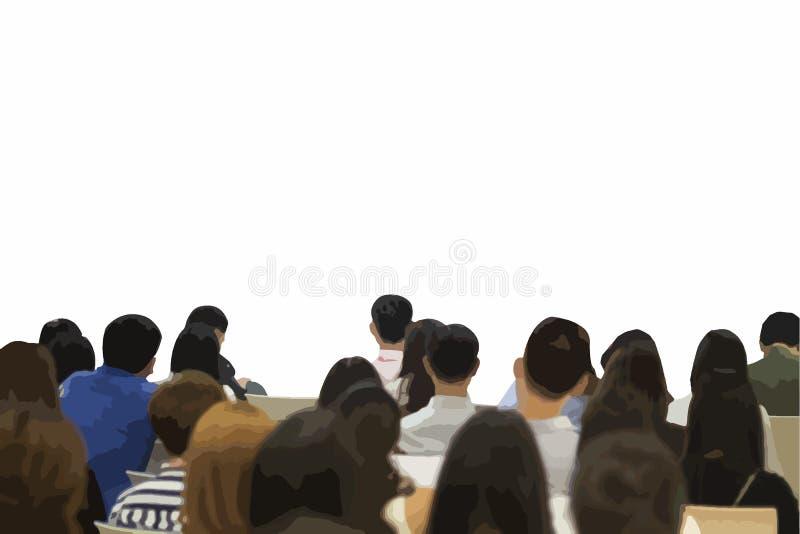 Διανυσματικός χαρακτήρας απεικόνισης που ακούει το σεμινάριο με το κενό διάστημα για το κείμενο και το σχέδιό σας ελεύθερη απεικόνιση δικαιώματος