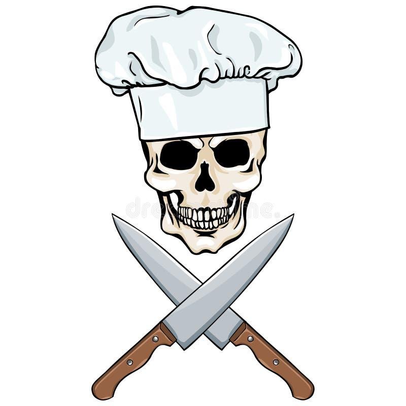 Διανυσματικός χαρακτήρας - αρχιμάγειρας κρανίων και διασχισμένος knifes διανυσματική απεικόνιση