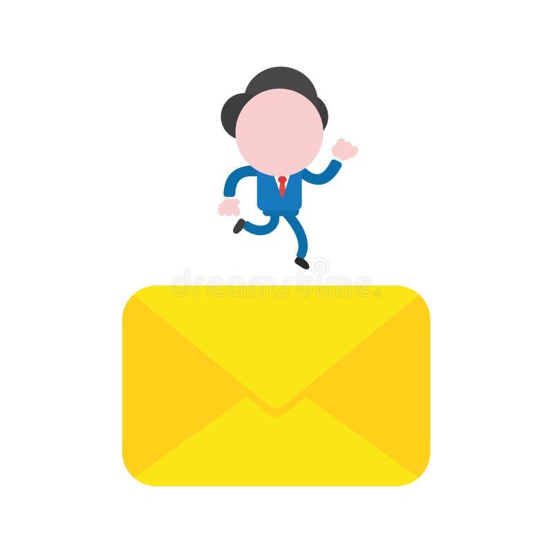 Διανυσματικός χαρακτήρας επιχειρηματιών που τρέχει στον κλειστό φάκελο ταχυδρομείου ελεύθερη απεικόνιση δικαιώματος