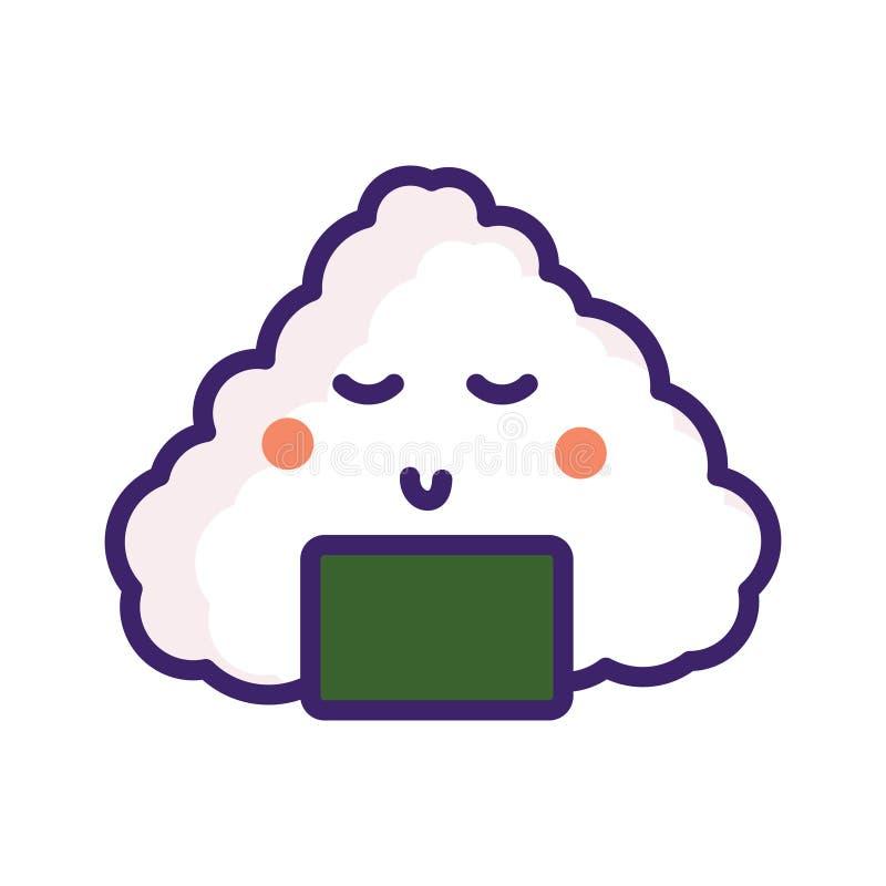 Διανυσματικός χαρακτήρας emoji τροφίμων της Ιαπωνίας Onigiri απεικόνιση αποθεμάτων