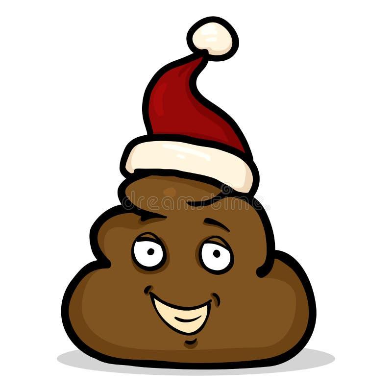 Διανυσματικός χαρακτήρας Shit κινούμενων σχεδίων στο καπέλο Santa διανυσματική απεικόνιση