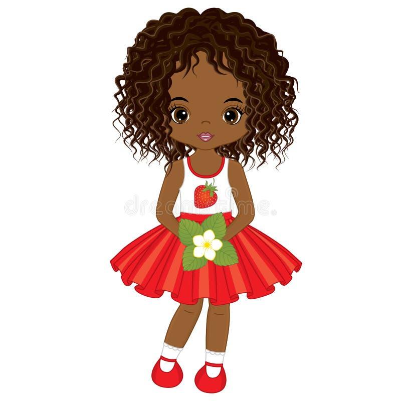 Διανυσματικός χαριτωμένος λίγο κορίτσι αφροαμερικάνων με το λουλούδι της φράουλας διανυσματική απεικόνιση