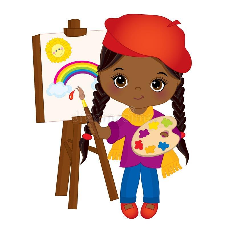 Διανυσματικός χαριτωμένος λίγος καλλιτέχνης αφροαμερικάνων που ασθμαίνει Easel Διανυσματικό μικρό κορίτσι απεικόνιση αποθεμάτων