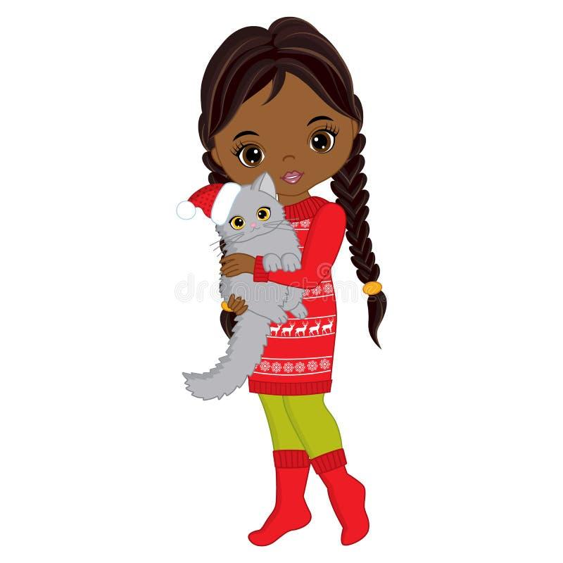 Διανυσματικός χαριτωμένος λίγο κορίτσι αφροαμερικάνων με τη γάτα ελεύθερη απεικόνιση δικαιώματος
