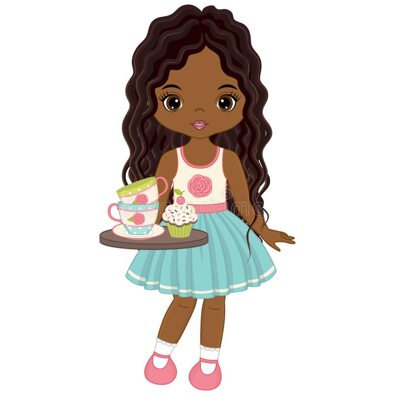 Διανυσματικός χαριτωμένος λίγο κορίτσι αφροαμερικάνων με το δίσκο, τα φλυτζάνια τσαγιού και Cupcakes ελεύθερη απεικόνιση δικαιώματος