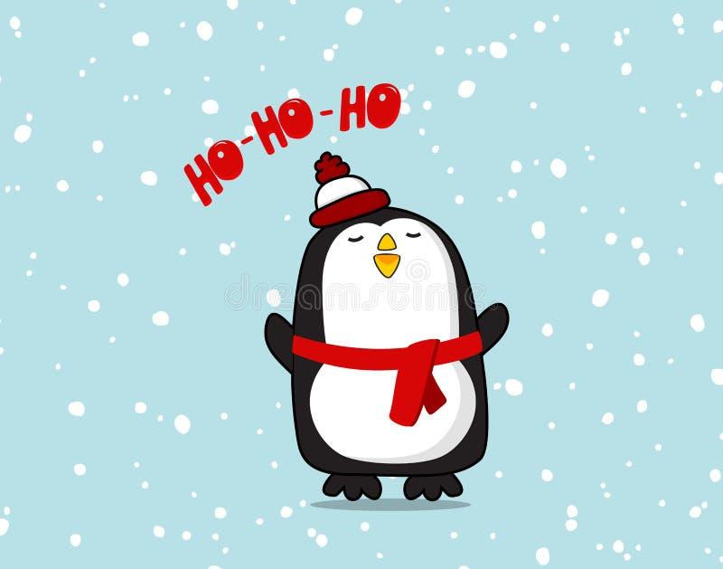 Διανυσματικός χαριτωμένος χαρακτήρας Pinguin Αφίσα Χριστουγέννων ho ho ho για το δωμάτιο μωρών, τη ευχετήρια κάρτα, τα παιδιά και απεικόνιση αποθεμάτων