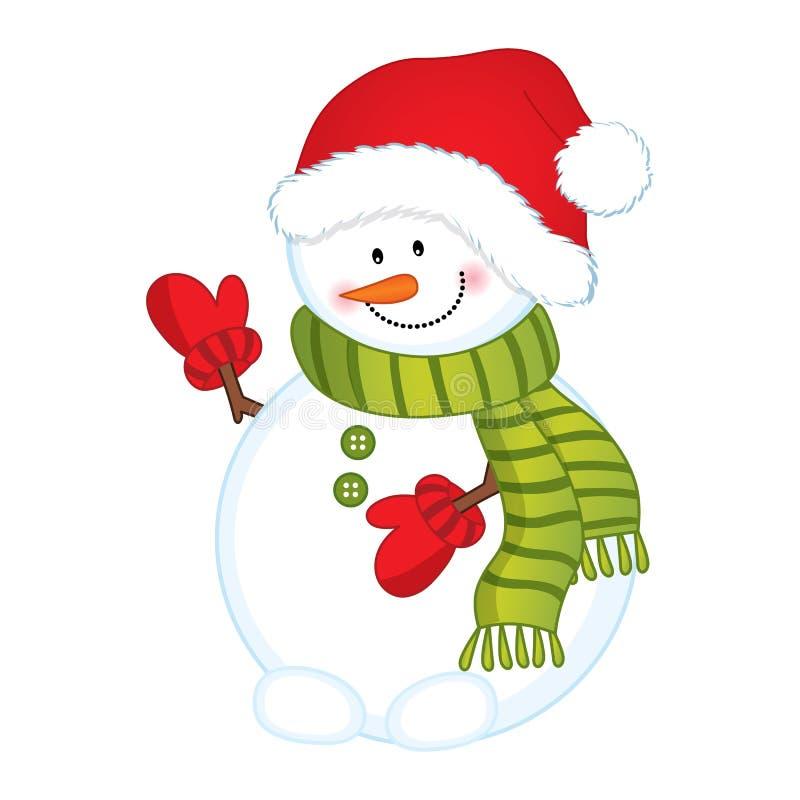 Διανυσματικός χαριτωμένος χιονάνθρωπος στο Red Hat και το πράσινο μαντίλι ελεύθερη απεικόνιση δικαιώματος