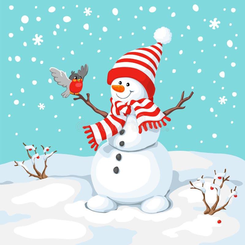 Διανυσματικός χιονάνθρωπος με το πουλί διανυσματική απεικόνιση