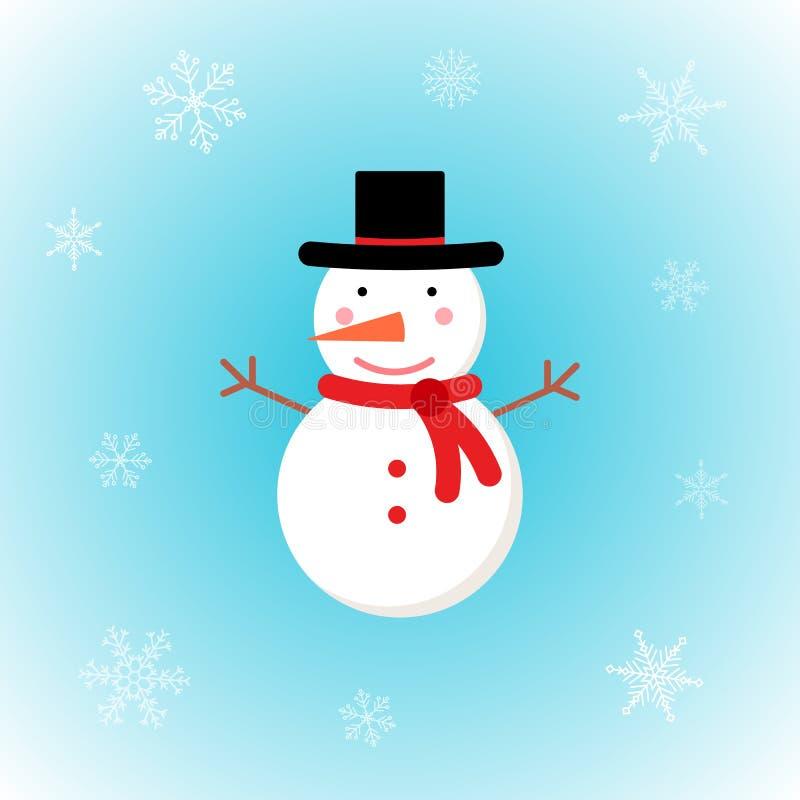 Διανυσματικός χιονάνθρωπος Χριστουγέννων στο επίπεδο ύφος με snowflakes στο χειμερινό υπόβαθρο απεικόνιση αποθεμάτων