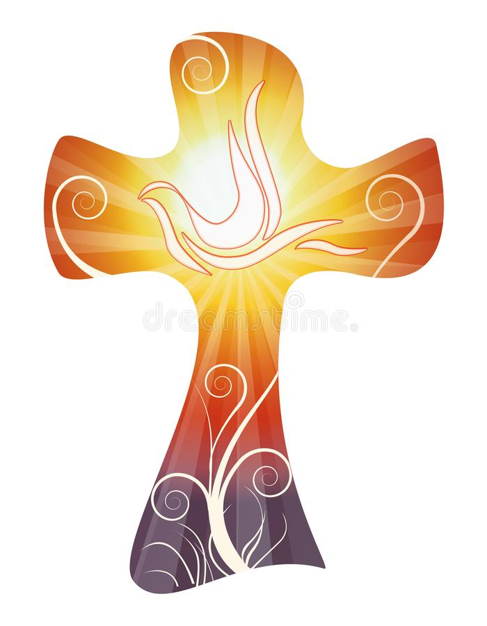 Διανυσματικός χριστιανικός σταυρός που απομονώνεται με το περιστέρι στο υπόβαθρο ηλιοβασιλέματος ή ανατολής διανυσματική απεικόνιση