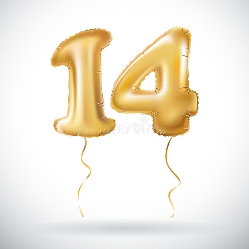 Διανυσματικός χρυσός 14 αριθμός δεκατέσσερις μεταλλικό μπαλόνι Χρυσά μπαλόνια διακοσμήσεων κόμματος Σημάδι επετείου για τις ευτυχ απεικόνιση αποθεμάτων