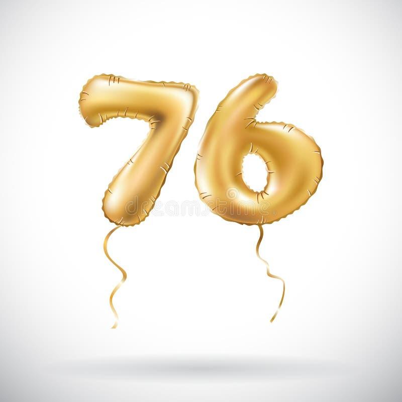 Διανυσματικός χρυσός αριθμός 76 μεταλλικό μπαλόνι εβδομήντα έξι Χρυσά μπαλόνια διακοσμήσεων κόμματος Σημάδι επετείου για τις ευτυ απεικόνιση αποθεμάτων