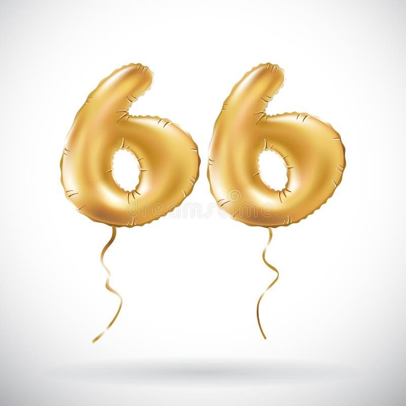Διανυσματικός χρυσός αριθμός 66 μεταλλικό μπαλόνι εξήντα έξι Χρυσά μπαλόνια διακοσμήσεων κόμματος Σημάδι επετείου για τις ευτυχεί διανυσματική απεικόνιση