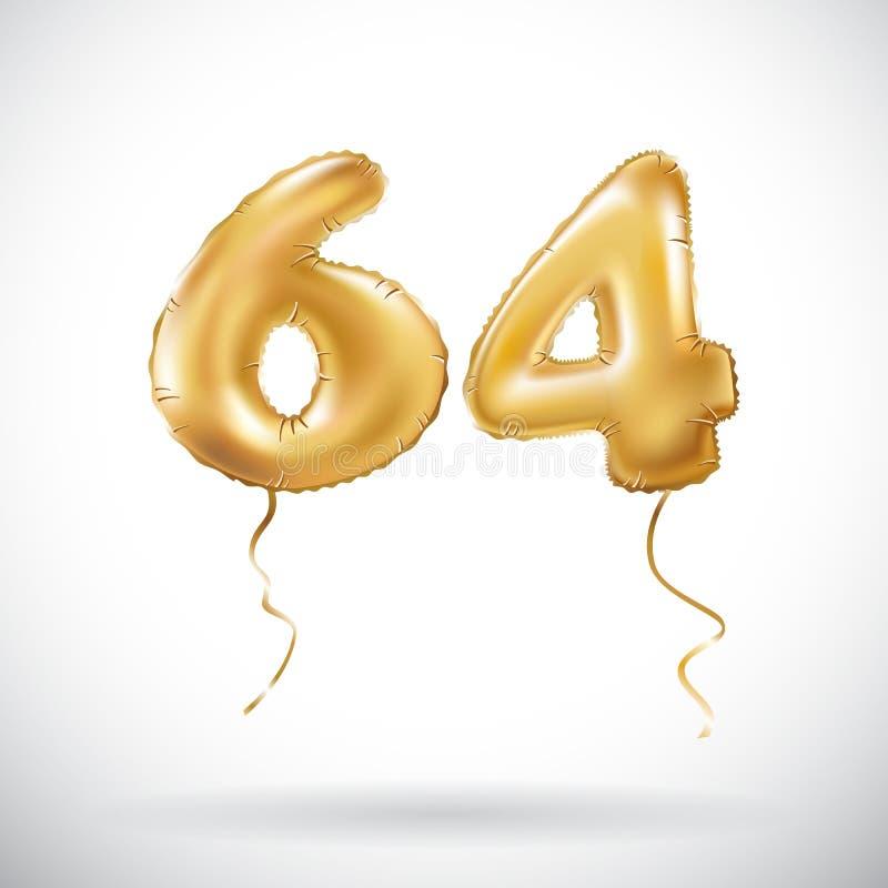 Διανυσματικός χρυσός αριθμός 64 μεταλλικό μπαλόνι εξήντα τέσσερα Χρυσά μπαλόνια διακοσμήσεων κόμματος Σημάδι επετείου για τις ευτ ελεύθερη απεικόνιση δικαιώματος