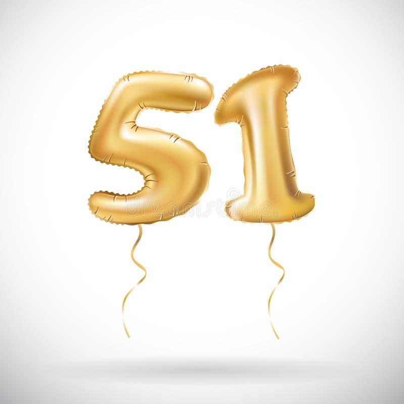 Διανυσματικός χρυσός αριθμός 51 μεταλλικό μπαλόνι πενήντα ένα Χρυσά μπαλόνια διακοσμήσεων κόμματος Σημάδι επετείου για τις ευτυχε απεικόνιση αποθεμάτων