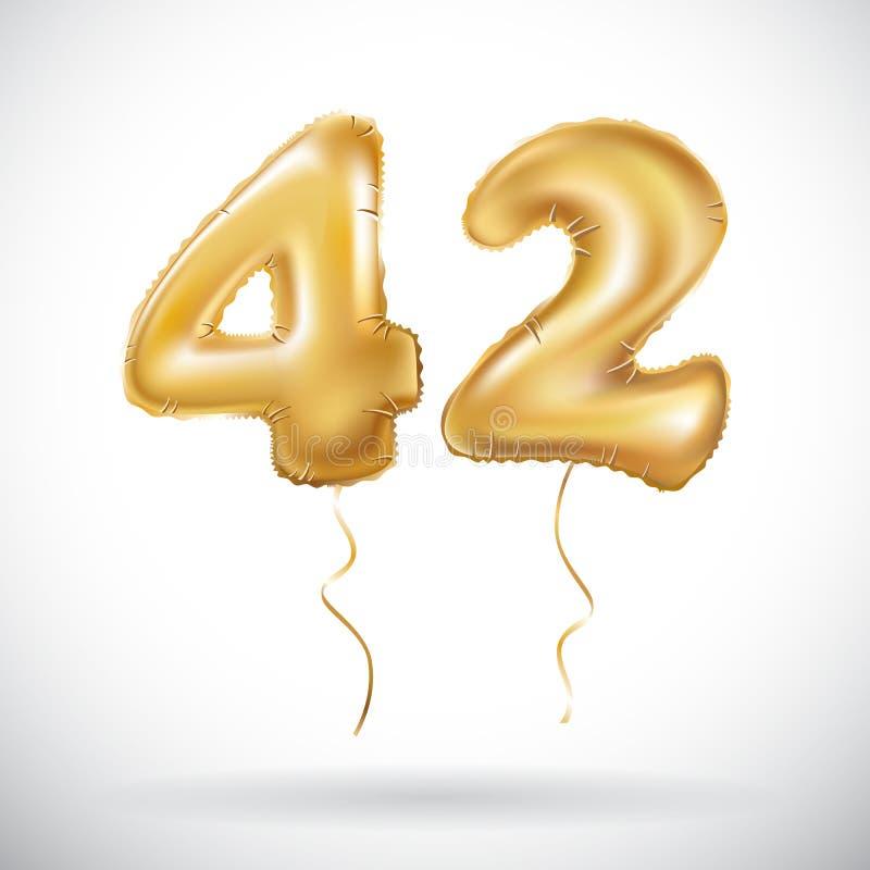 Διανυσματικός χρυσός 42 αριθμός σαράντα δύο μεταλλικό μπαλόνι Χρυσά μπαλόνια διακοσμήσεων κόμματος Σημάδι επετείου για τις ευτυχε απεικόνιση αποθεμάτων