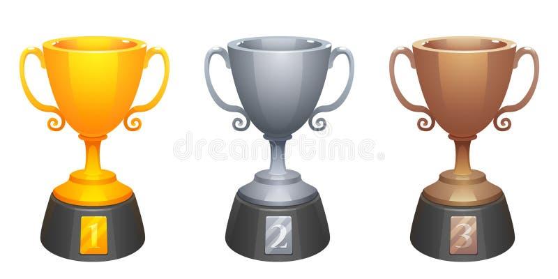 Διανυσματικός χρυσός, ασήμι, βραβεία τροπαίων φλυτζανιών χαλκού με τη βάση Βραβεία για την πρώτη, δεύτερη και τρίτη θέση ελεύθερη απεικόνιση δικαιώματος