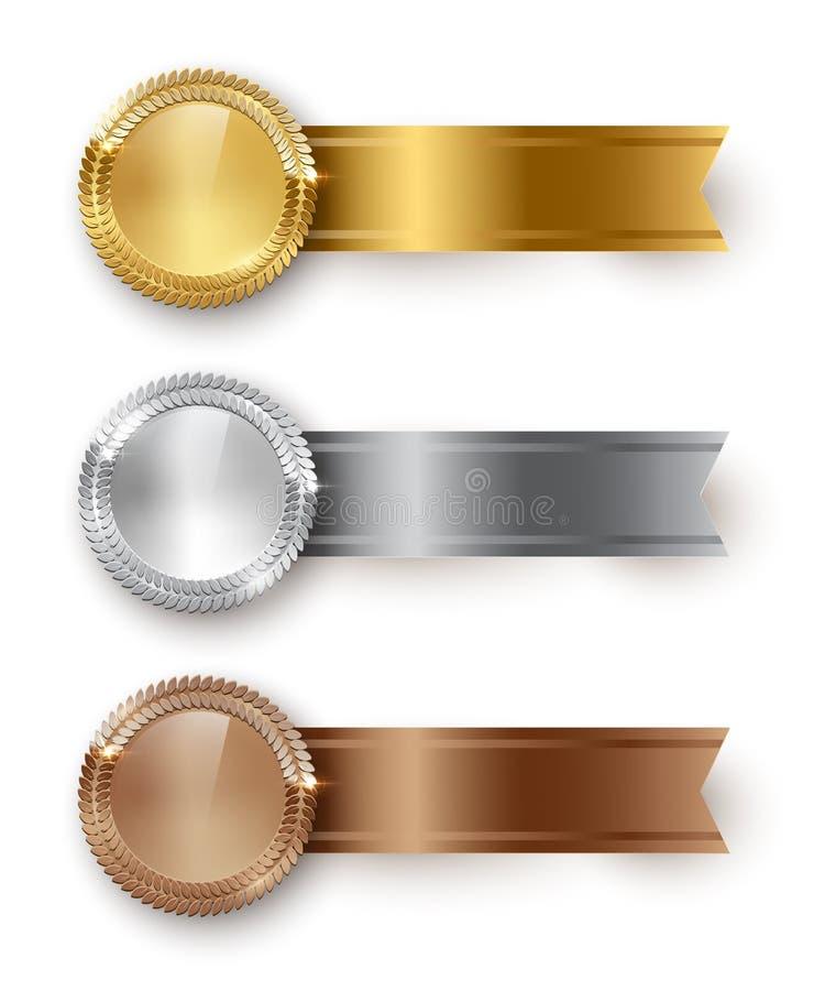 Διανυσματικός χρυσός, ασήμι, κενά μετάλλια χαλκού και οριζόντιες κορδέλλες με το διάστημα κειμένων που απομονώνεται στο άσπρο υπό διανυσματική απεικόνιση