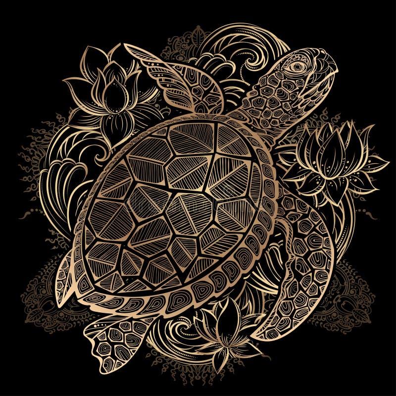 Διανυσματικός χρυσός χελωνών θάλασσας ελεύθερη απεικόνιση δικαιώματος