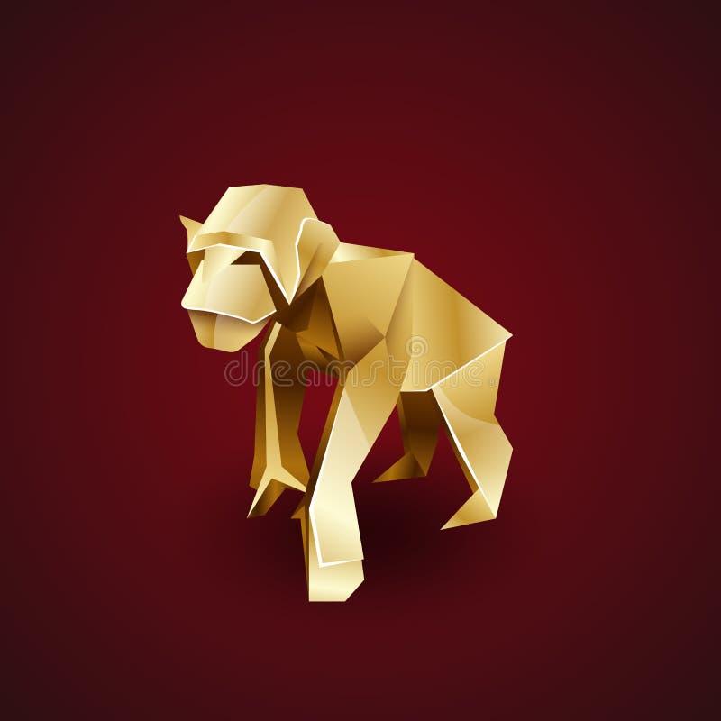 Διανυσματικός χρυσός χιμπατζής πιθήκων origami ελεύθερη απεικόνιση δικαιώματος