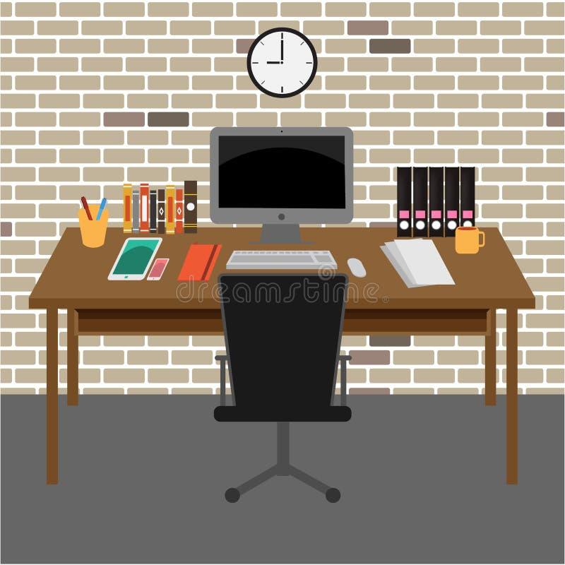 Διανυσματικός χώρος εργασίας δωματίων γραφείων απεικόνιση αποθεμάτων