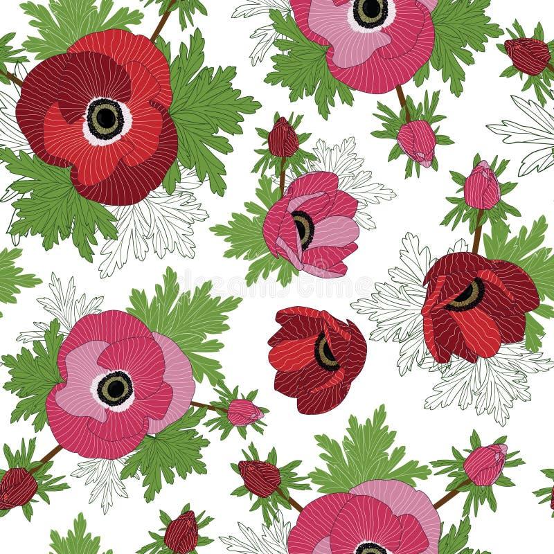 Διανυσματικός floral επαναλαμβάνει το άνευ ραφής σχέδιο με τα κόκκινα και ρόδινα λουλούδια anemone ελεύθερη απεικόνιση δικαιώματος