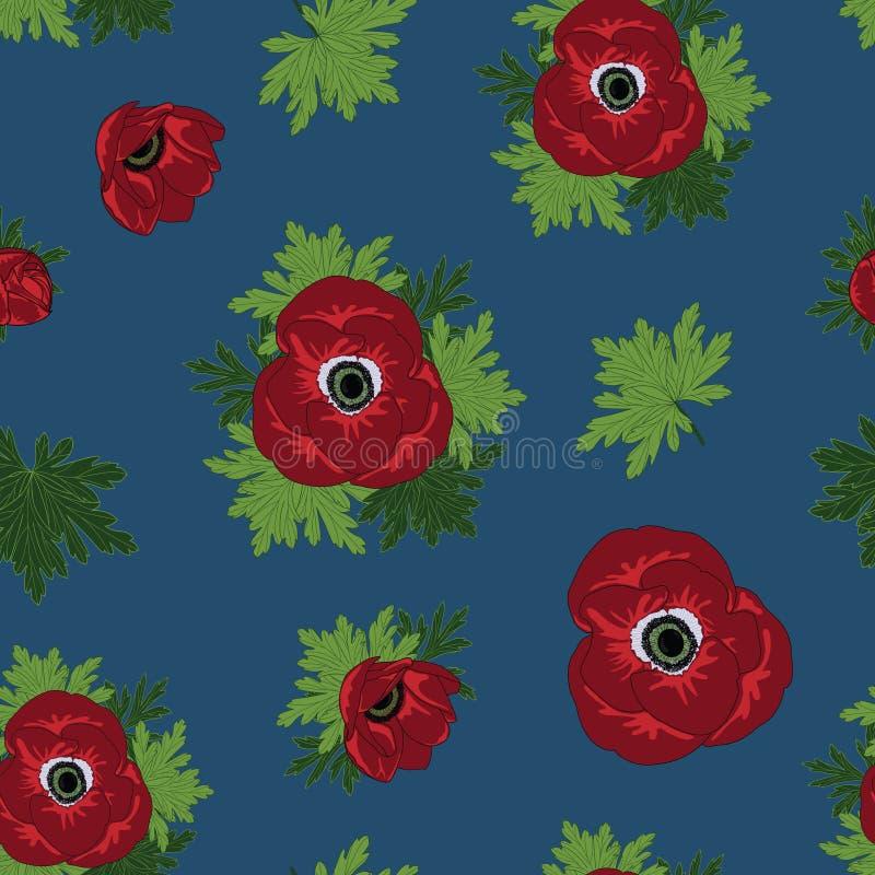 Διανυσματικός floral επαναλαμβάνει το άνευ ραφής σχέδιο με τα κόκκινα λουλούδια anemone στο μπλε υπόβαθρο ελεύθερη απεικόνιση δικαιώματος
