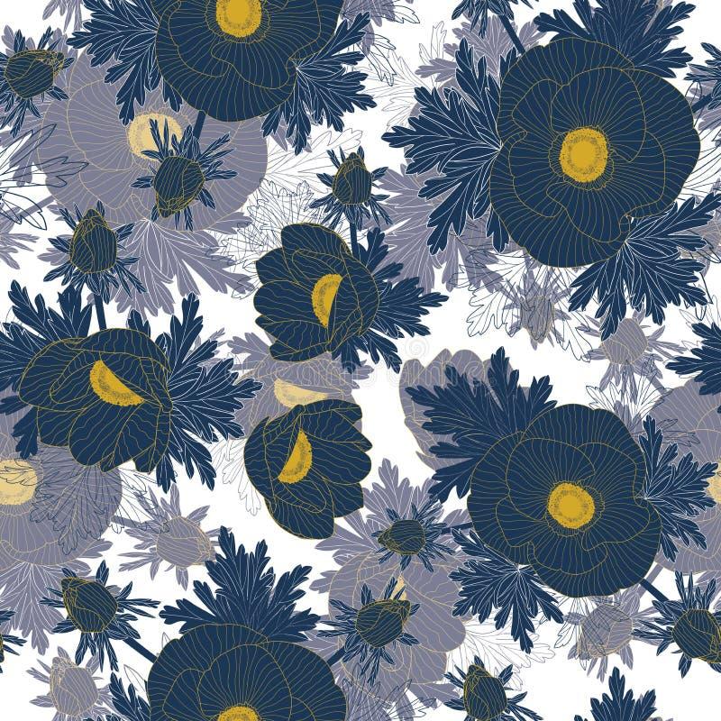 Διανυσματικός floral επαναλαμβάνει το άνευ ραφής σχέδιο με την κίτρινη γραμμή και τα μπλε λουλούδια anemone διανυσματική απεικόνιση
