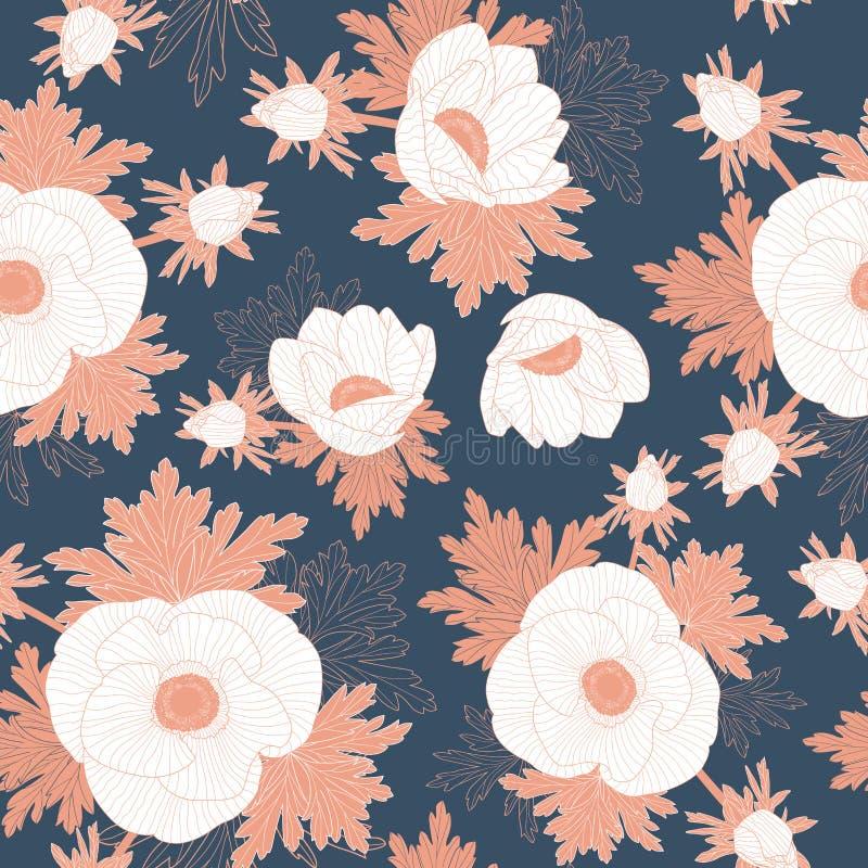 Διανυσματικός floral επαναλαμβάνει ότι το άνευ ραφής σχέδιο με κοκκινίζει γραμμή και άσπρα λουλούδια anemone στο σκούρο μπλε υπόβ απεικόνιση αποθεμάτων