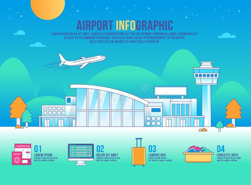 Διανυσματικός infographic αερολιμένων, κτήριο σχεδίου, εικονίδιο γραφικό, μεταφορά, υπόβαθρο σύγχρονο, τοπίο απεικόνιση αποθεμάτων