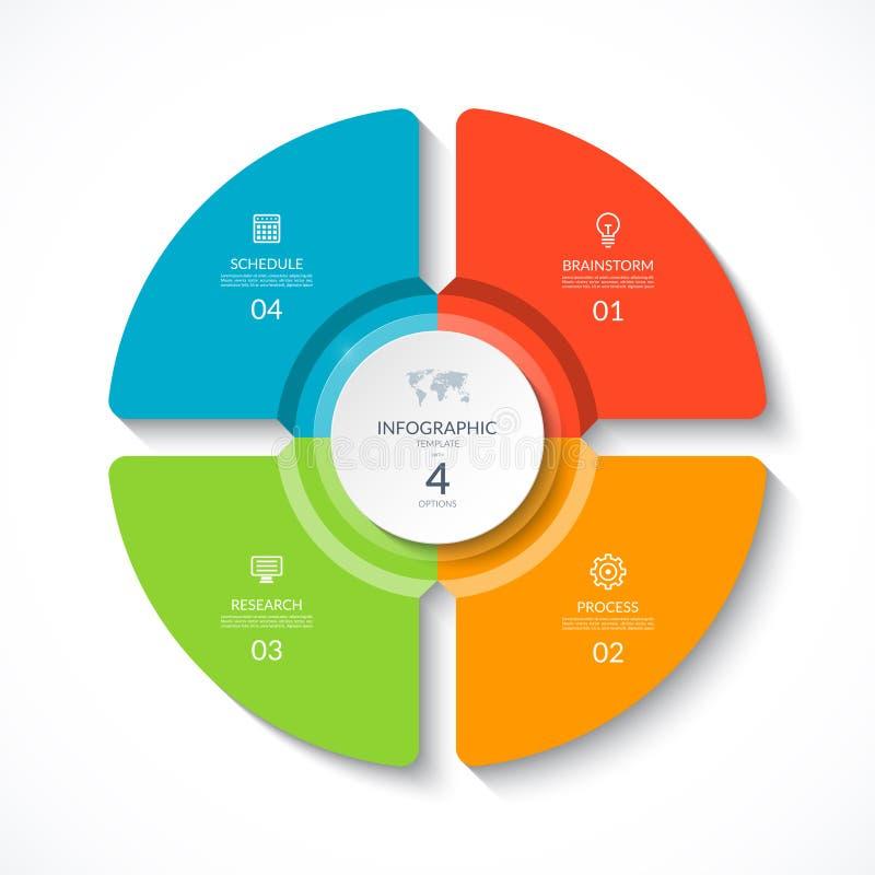 Διανυσματικός infographic κύκλος Διάγραμμα κύκλων με 4 επιλογές απεικόνιση αποθεμάτων